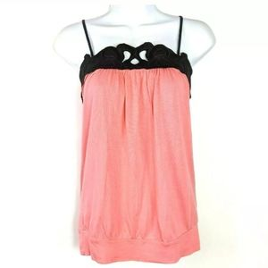 Express Tank Top Black Puffy Scroll Trim Neck Pink